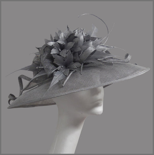 Ladies Derby Day Feather Flower Hat in Silver