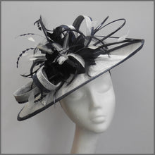 Load image into Gallery viewer, Silver & Navy Feather Hatinator for Ladies Day