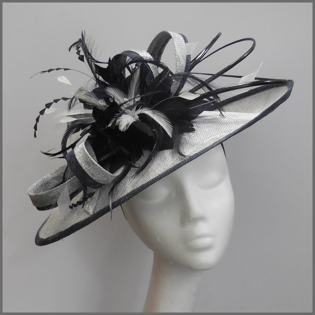 Silver & Navy Feather Hatinator for Ladies Day