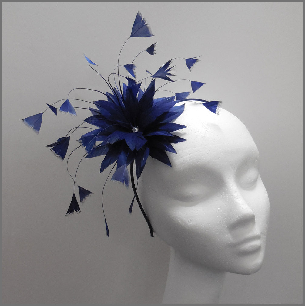 Simple Navy Blue Feather Flower Side Fascinator