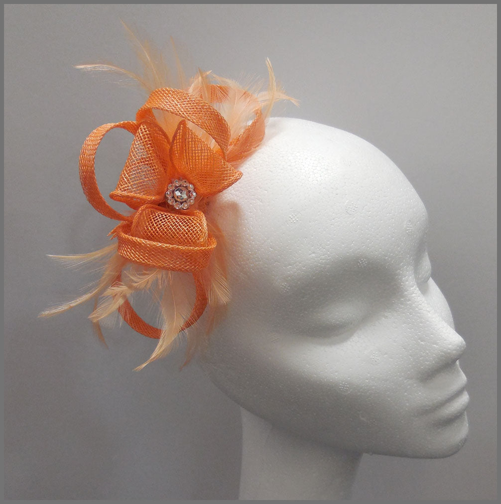 Small Apricot Fascinator for Special Occasion