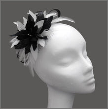 Load image into Gallery viewer, Small Black & White Feather Occasion Fascinator