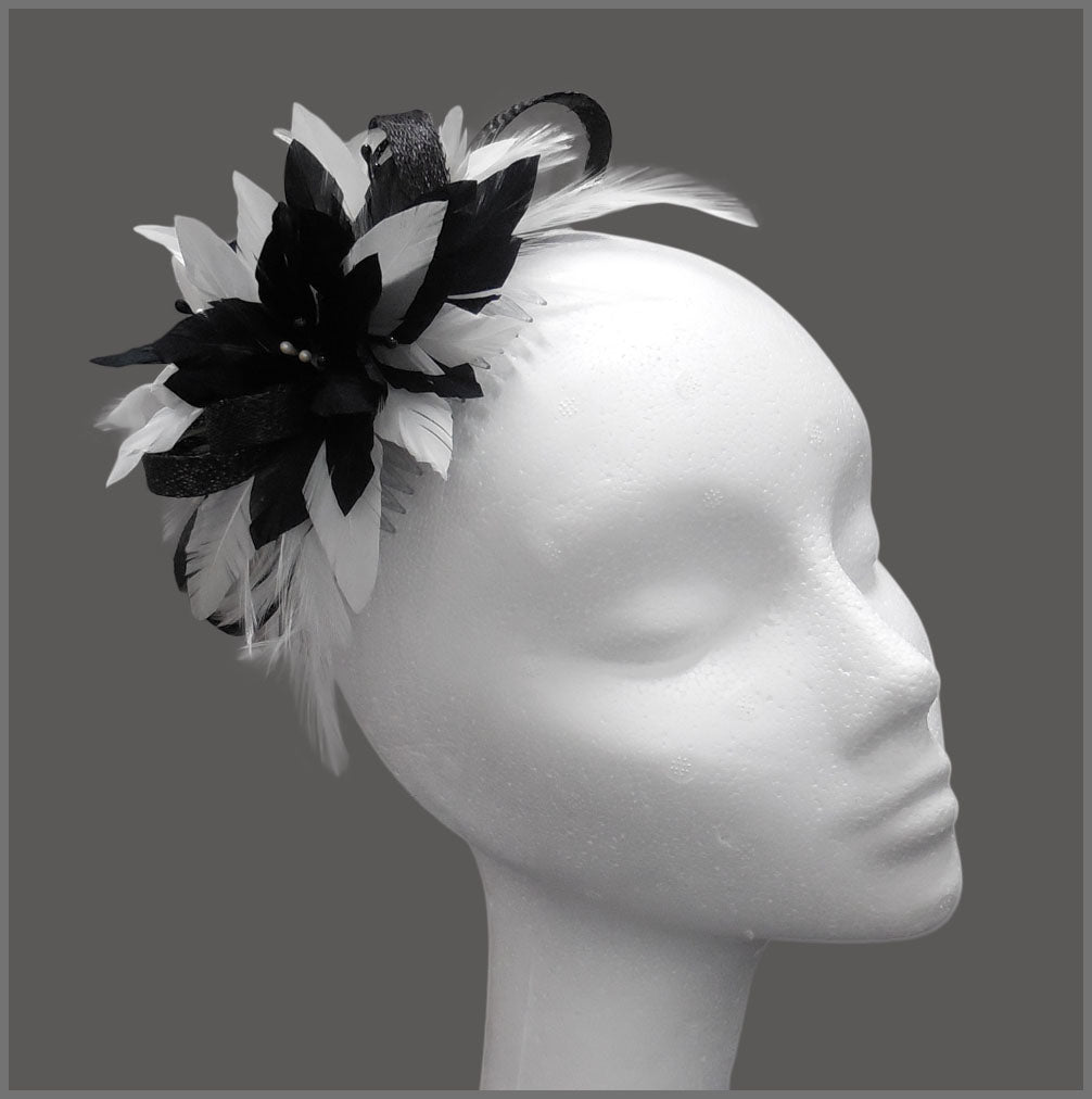 Small Black & White Feather Occasion Fascinator