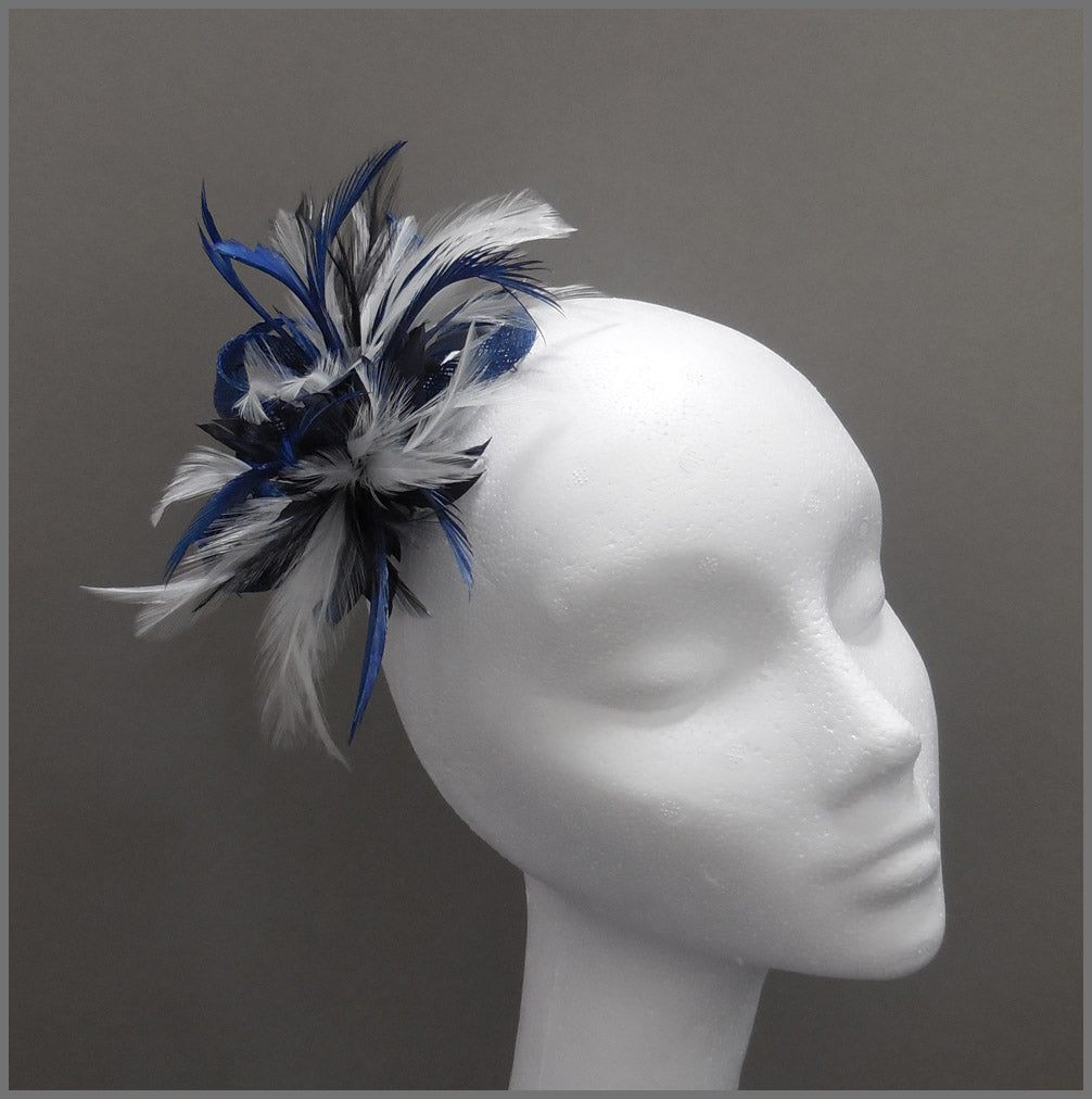 Small Blue & White Feather Occasion Headpiece