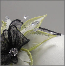 Load image into Gallery viewer, Small Headband Fascinator in Lime, White & Black