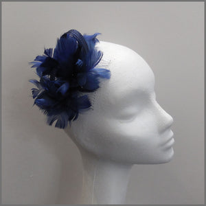 Small Navy Blue Feather Fascinator for Wedding Guest