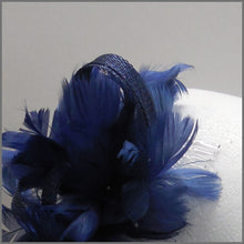 Load image into Gallery viewer, Small Navy Blue Feather Fascinator for Wedding Guest