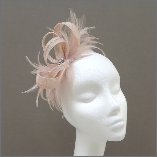 Small Wedding Guest Fascinator in Blush Pink