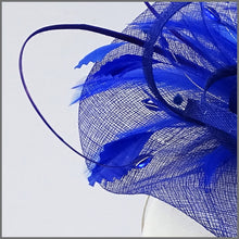 Load image into Gallery viewer, Race Day Feather Hatinator in Regal Blue