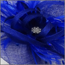 Load image into Gallery viewer, Diamanté Feather Hatinator in Regal Blue