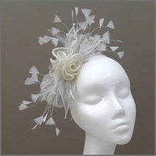 Load image into Gallery viewer, Special Occasion Grey & Ivory Rose Sinamay Fascinator