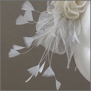 Special Occasion Grey & Ivory Rose Fascinator on Headband