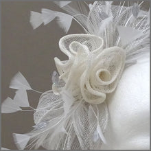 Load image into Gallery viewer, Special Occasion Grey & Ivory Rose Sinamay Headpiece