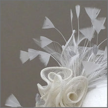 Load image into Gallery viewer, Grey & Ivory Rose Sinamay Wedding Fascinator