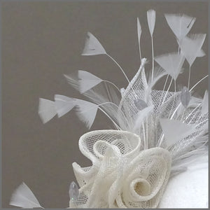 Grey & Ivory Rose Sinamay Wedding Fascinator