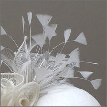 Load image into Gallery viewer, Grey & Ivory Rose Sinamay Race Day Fascinator