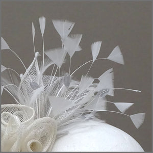 Grey & Ivory Rose Sinamay Race Day Fascinator