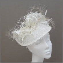 Load image into Gallery viewer, Special Occasion Ivory Hatinator with Netting & Feathers