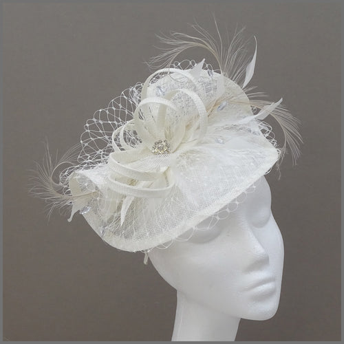 Special Occasion Ivory Hatinator with Netting & Feathers