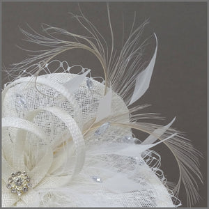 Ivory Hatinator with Netting & Feathers for Wedding