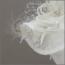 Load image into Gallery viewer, Ivory Hatinator with Netting & Feathers on a Headband