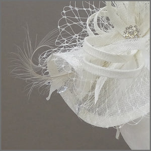 Ivory Hatinator with Netting & Feathers on a Headband