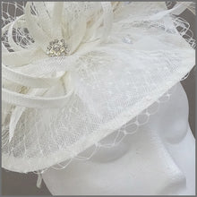 Load image into Gallery viewer, Special Occasion Ivory Disc Fascinator with Netting & Feathers