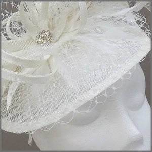 Special Occasion Ivory Disc Fascinator with Netting & Feathers
