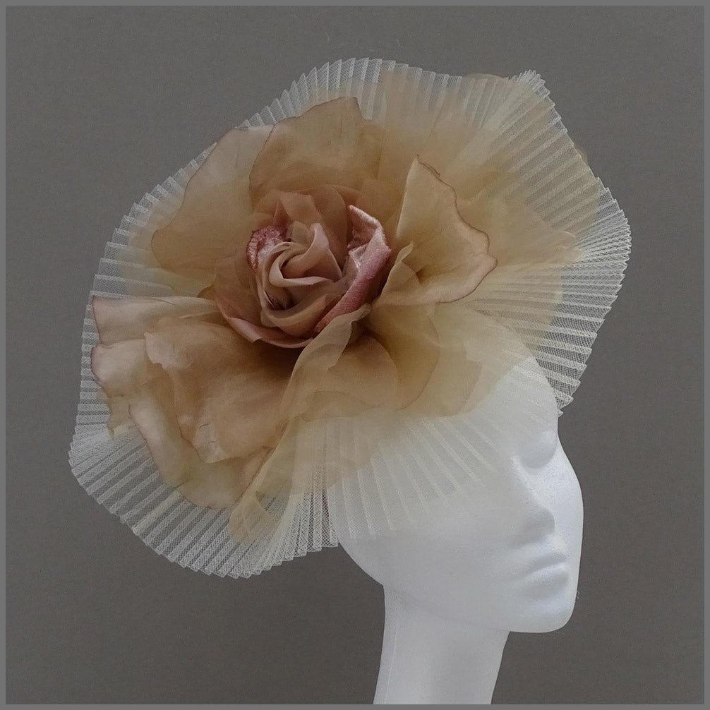 Stunning Large Flower Fascinator in Ivory & Champagne Gold