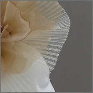 Stunning Large Crinoline Fascinator in Ivory & Champagne Gold