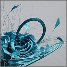 Load image into Gallery viewer, Teal Flower Hatinator with Feathers for Weddings