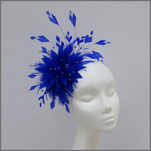 Load image into Gallery viewer, Unique Full Feather Blue Formal Fascinator