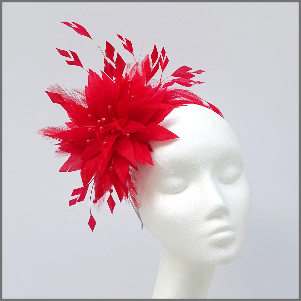 Unique Full Feather Red Formal Ladies Fascinator