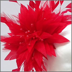Unique Full Feather Red Formal Headpiece