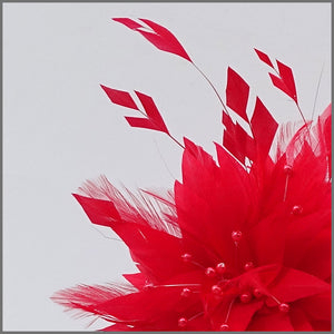 Unique Full Feather Red Formal Ladies Headband