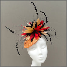 Load image into Gallery viewer, Vibrant Red & Orange Disc Fascinator for Ladies Day