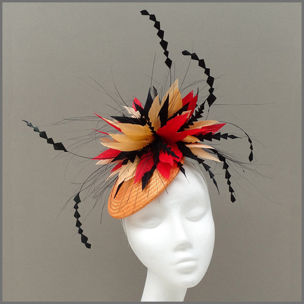 Vibrant Red & Orange Disc Fascinator for Ladies Day