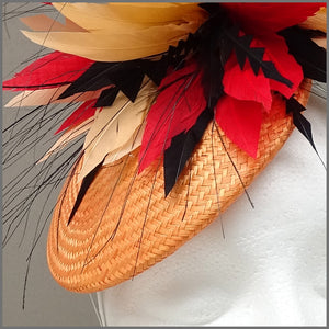 Vibrant Red & Orange Disc Fascinator for Race Day