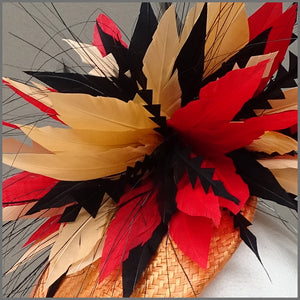 Vibrant Red & Orange Disc Floral Fascinator