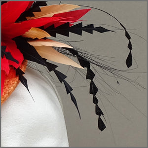 Vibrant Red & Orange Disc Fascinator for Wedding