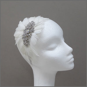 Vintage Style Headdress with White Feathers