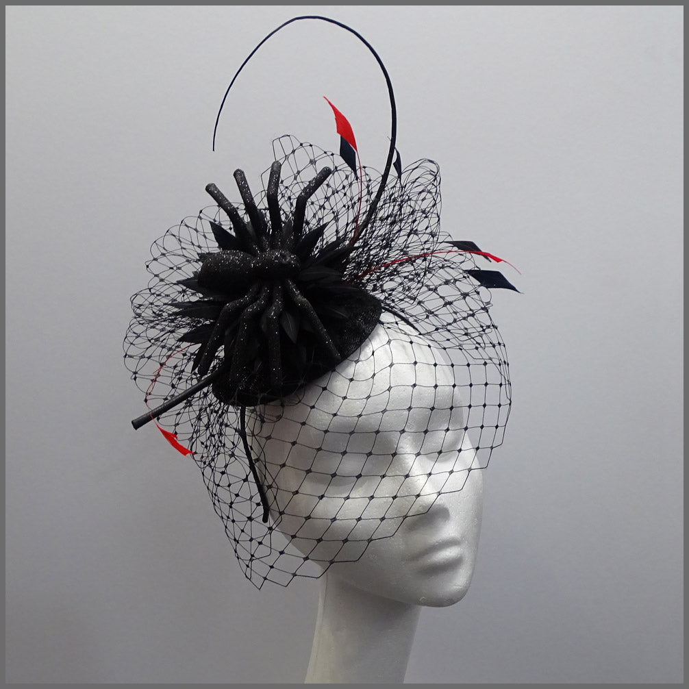 Web Effect Black Spider Halloween Headpiece