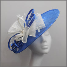 Load image into Gallery viewer, Wedding Disc Fascinator with Bow in Blue & White