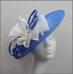 Wedding Disc Fascinator with Bow in Blue & White