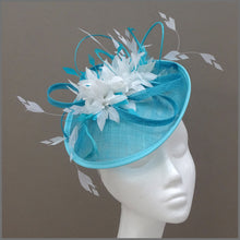 Load image into Gallery viewer, Flower Hatinator in Peacock & White for Wedding or Race Day
