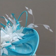 Load image into Gallery viewer, Flower Feather Hatinator in Peacock & White for Wedding or Race Day