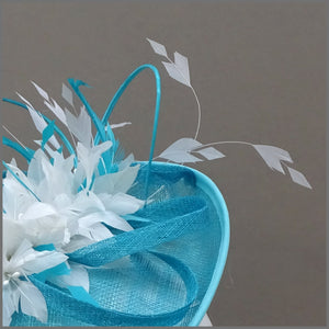 Flower Feather Hatinator in Peacock & White for Wedding or Race Day