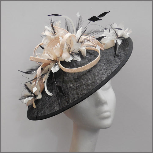 Black, White & Nude Feather Hatinator for Wedding Guest