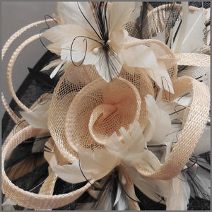 Black, White & Nude Flower Hatinator for Ladies Day