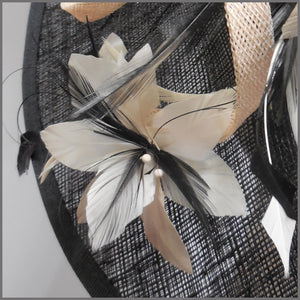 Black, White & Nude Feather Flower Hatinator for Wedding Guest